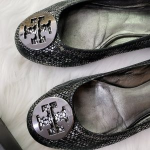 Tory Burch Silver Snakeskin Reva Ballet Flats